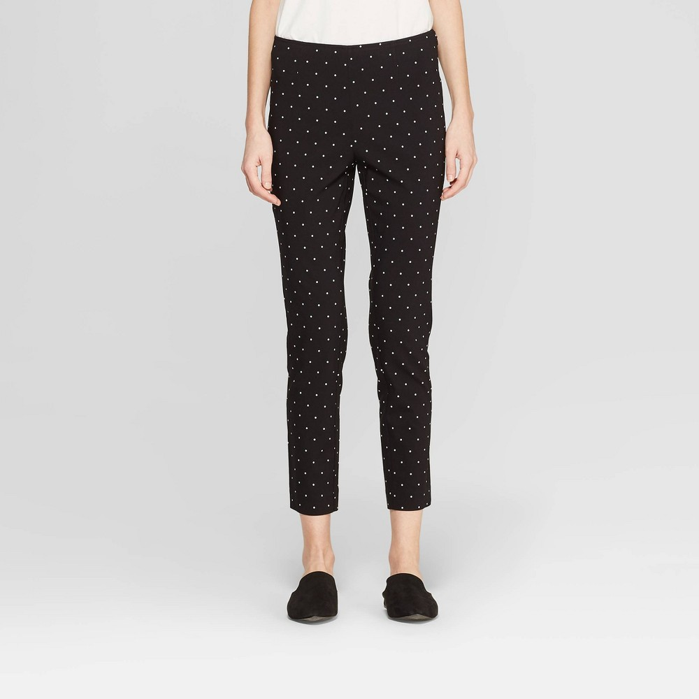 Women's Polka Dot High-Rise Skinny Ankle Pants - A New Day Black/White 8