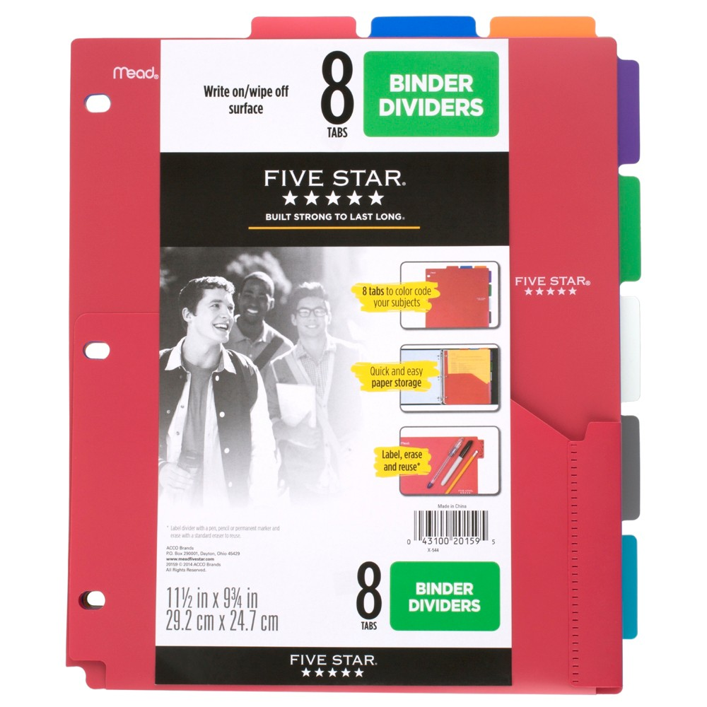 Image of Five Star 8-Tab Binder Dividers with Pocket Multicolor