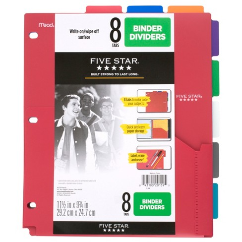 Five Star 8-Tab Binder Dividers with Pocket Multicolor - image 1 of 4