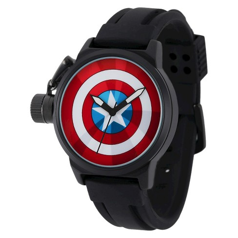 Men's Marvel Captain America Crown Protector Watch - Black - image 1 of 2