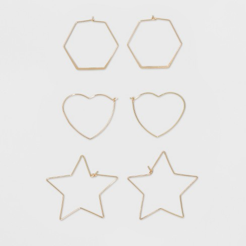 Hoop Trio with Hexagon, Heart, and Star Shape Earring Set - Wild Fable™ Gold - image 1 of 1