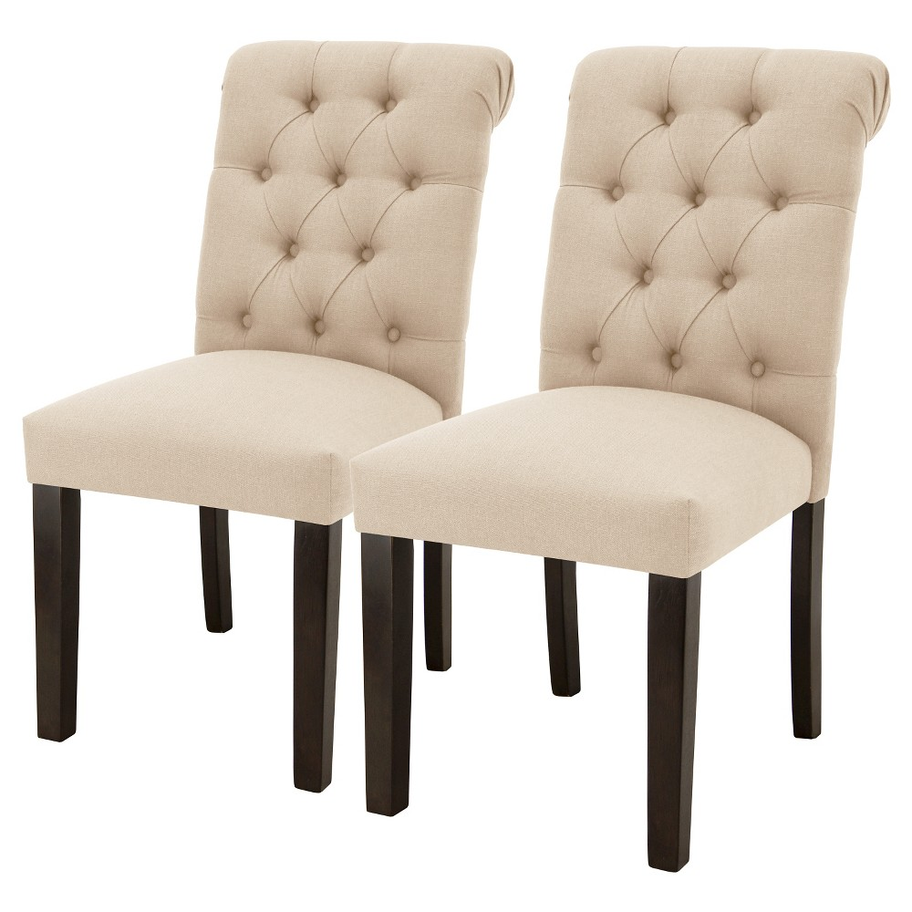 Sterling Rolled Back Tufted Dining Chair - Natural Linen (Set of 2) - Threshold