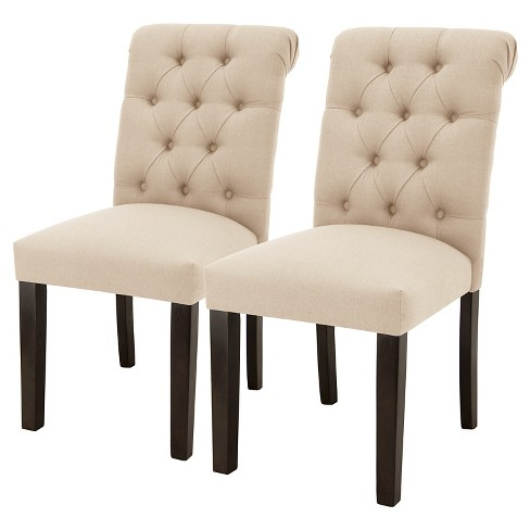 Sterling Rolled Back Tufted Dining Chair - Natural Linen (Set of 2) - Threshold™ - image 1 of 4