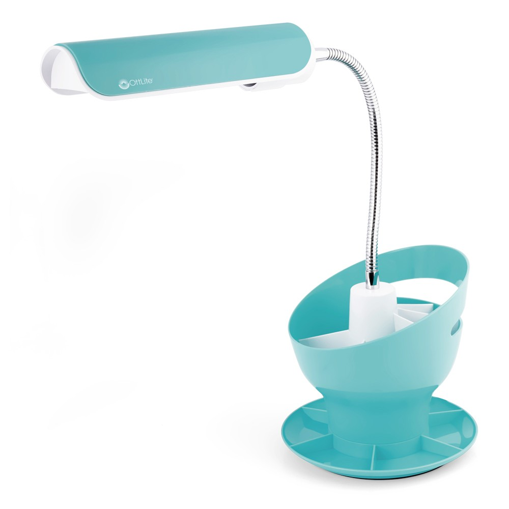 Image of 13W Craft Organizer Lamp Table Lamp Turquoise (Includes Energy Efficient Light Bulb) - OttLite