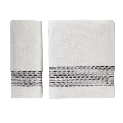 Saturday Knight Ltd Geo Stripe High Quality & Ultra-Durable Bath Towel For Everyday 27x50-in, White