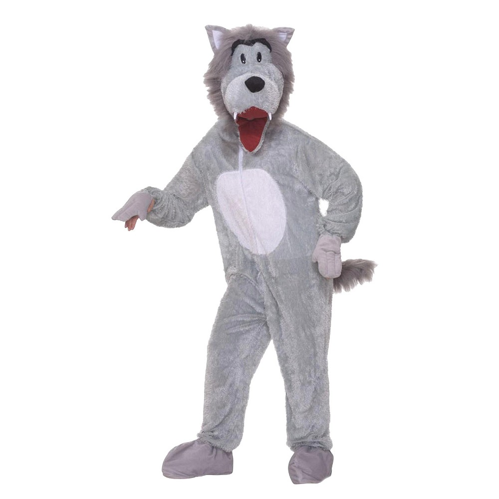 Story Book Wolf Plush Adult Costume One Size, Men's, Gray