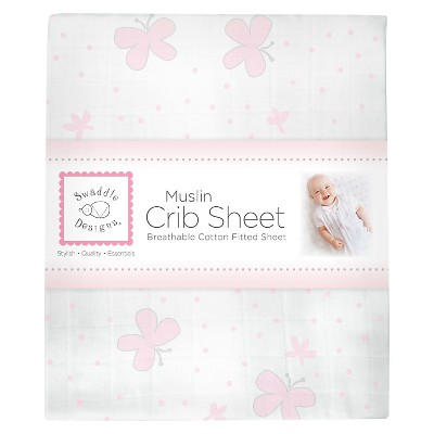 SwaddleDesigns® Cotton Muslin Crib Sheet - Butterflies - Pastel Pink