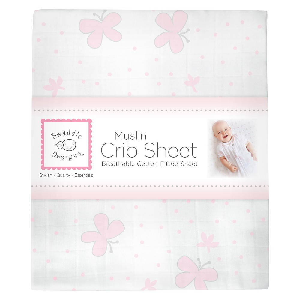 Image of SwaddleDesigns Cotton Muslin Crib Sheet - Butterflies - Pastel Pink