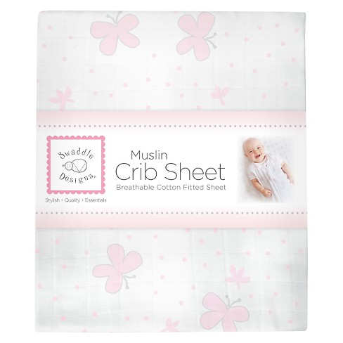SwaddleDesigns® Cotton Muslin Crib Sheet - Butterflies - Pastel Pink - image 1 of 2