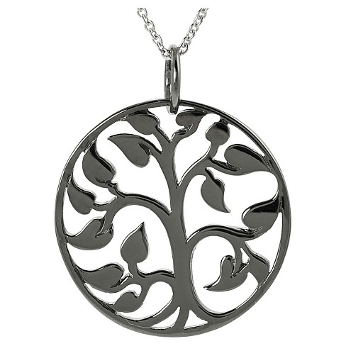 "Women's Journee Collection Platinum-plated Tree of Life Pendant Necklace in Sterling Silver - Black (18"") - image 1 of 3"