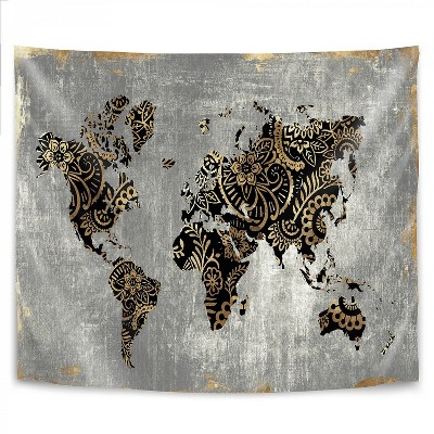 Americanflat Gold World Map by PI Creative Art Wall Tapestry