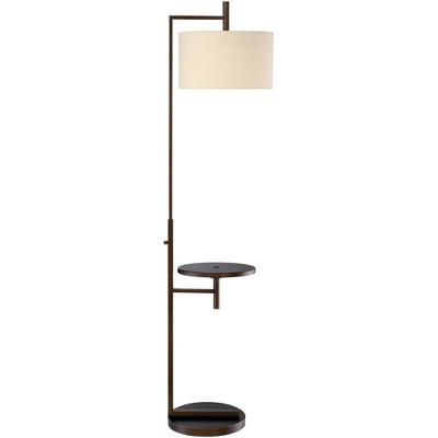 Possini Euro Design Modern Floor Lamp with Table Oiled Bronze Soft Beige Coarse Linen Drum Shade Hotel Style USB Charging Port for Living Room