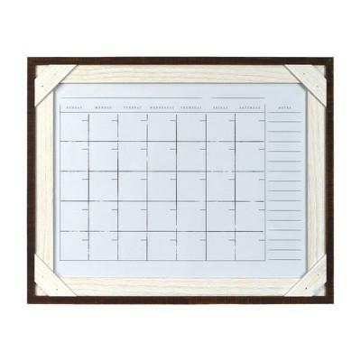 "16"" x 20"" Framed Reclaimed Crosshatch Dry Erase Wall Calendar Walnut/White - Prinz"