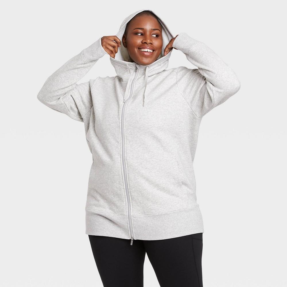 Women 39 S Cozy Fleece Plus Size Tunic Full Zip Sweatshirt All In Motion 8482 Heather Gray 1x