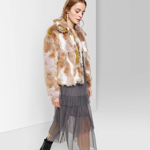 Women's Long Sleeve Faux Fur Jacket - Wild Fable™ White/Green/Brown  - image 1 of 3