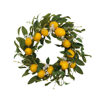 Gerson International 24-Inch Diameter Lemon Wreath with Berry Accents
