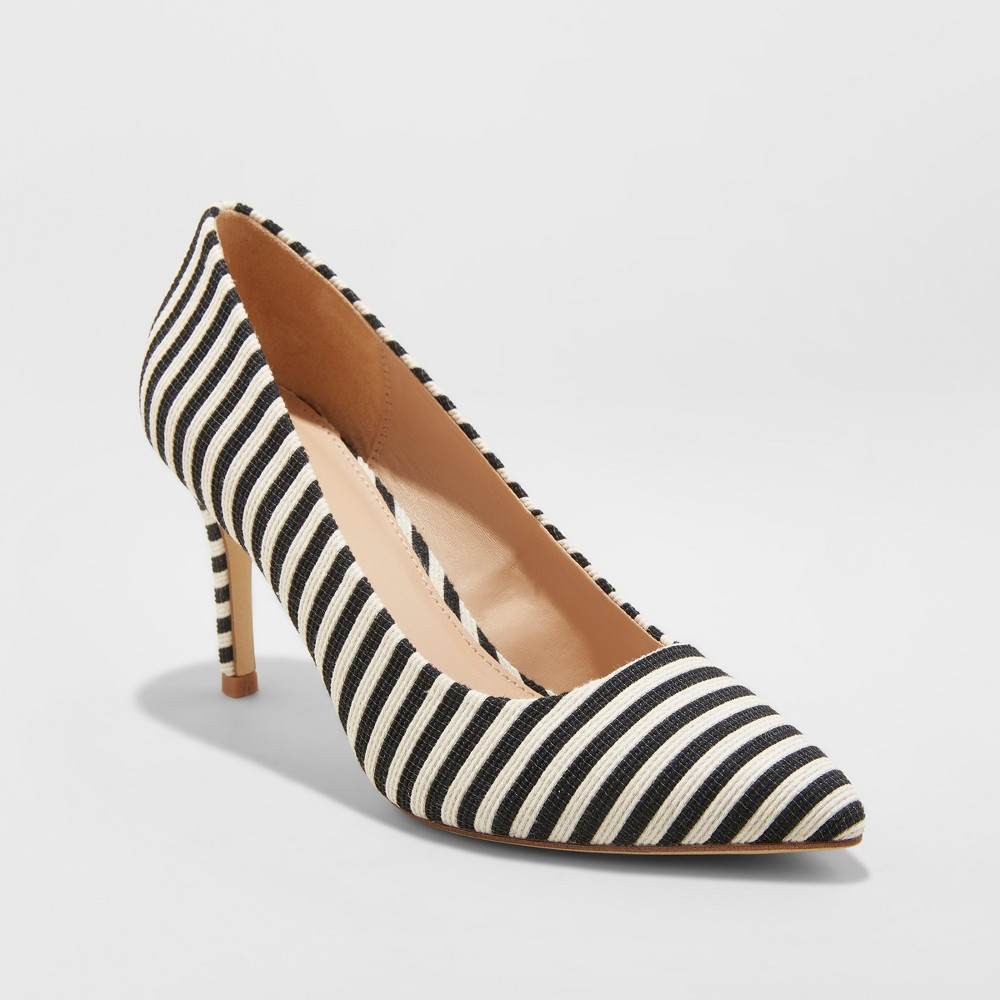 Women's Gemma Striped Pointed Toe Heel Pumps - A New Day Black 5.5