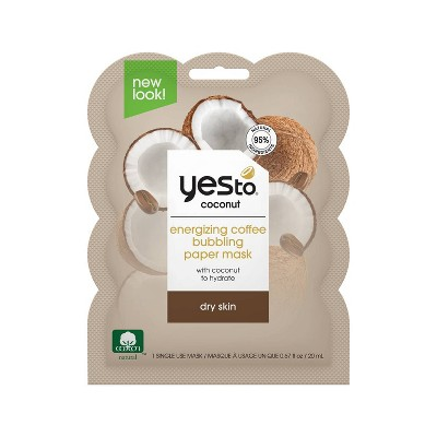 Yes To Coconut Energizing Coffee Bubbling Paper Mask - 0.67 fl oz