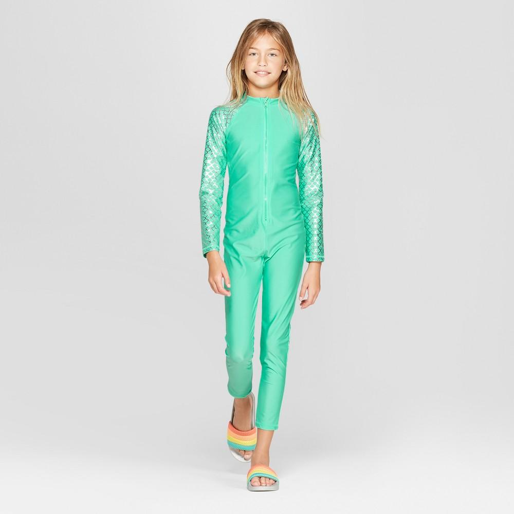Girls' Long Sleeve Full Body Rash Guard - Cat & Jack Turquoise L, Blue