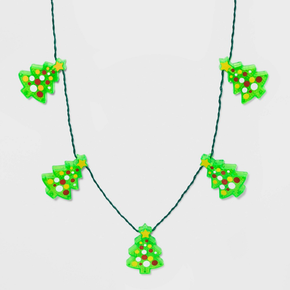 Image of Christmas Tree Light Up Strand Necklaces - Green, Women's