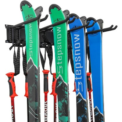 RaxGo Ski Wall Rack, Holds 4 Pairs of Skis & Skiing Poles or Snowboard, for Home and Garage Storage, Wall Mounted, Heavy Duty, Adjustable Rubber-Coated Hooks