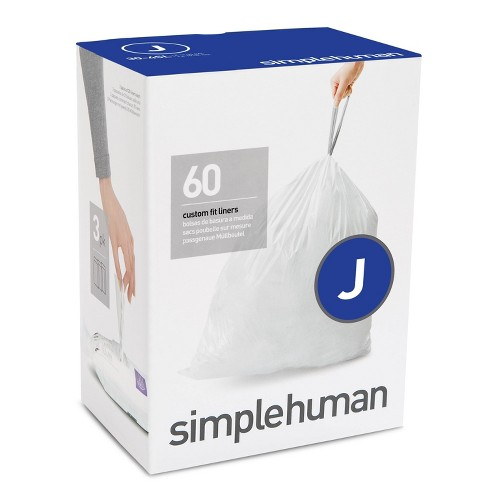 simplehuman 30-45L 60ct Code J Custom Fit Trash Can Liner White - image 1 of 3