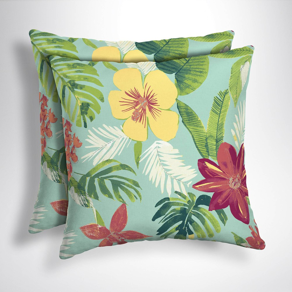 Image of 2pk Elea Tropical Square Outdoor Throw Pillows Aqua - Arden Selections