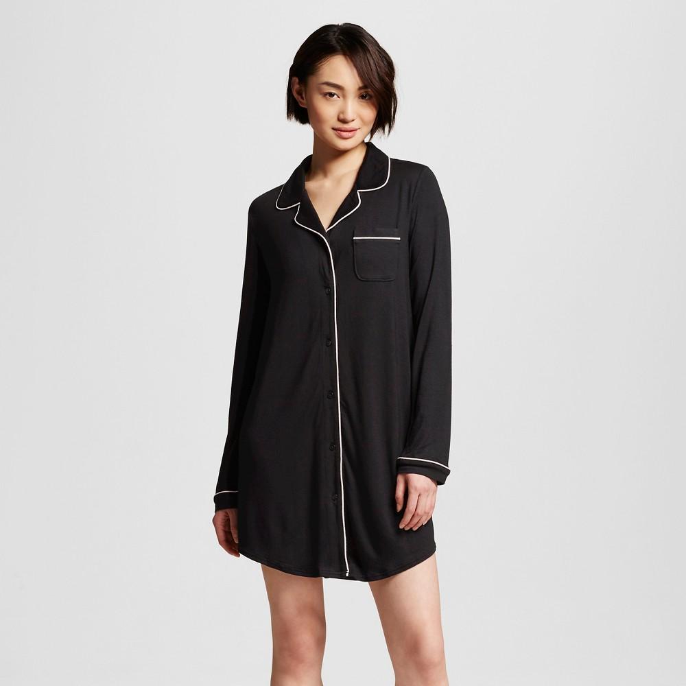 Women's Sleepwear Fluid Knit Nightgown Black XS