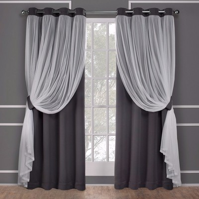 "96""x52"" Caterina Layered Solid Blackout with sheer top curtain panels Black Pearl - Exclusive Home"
