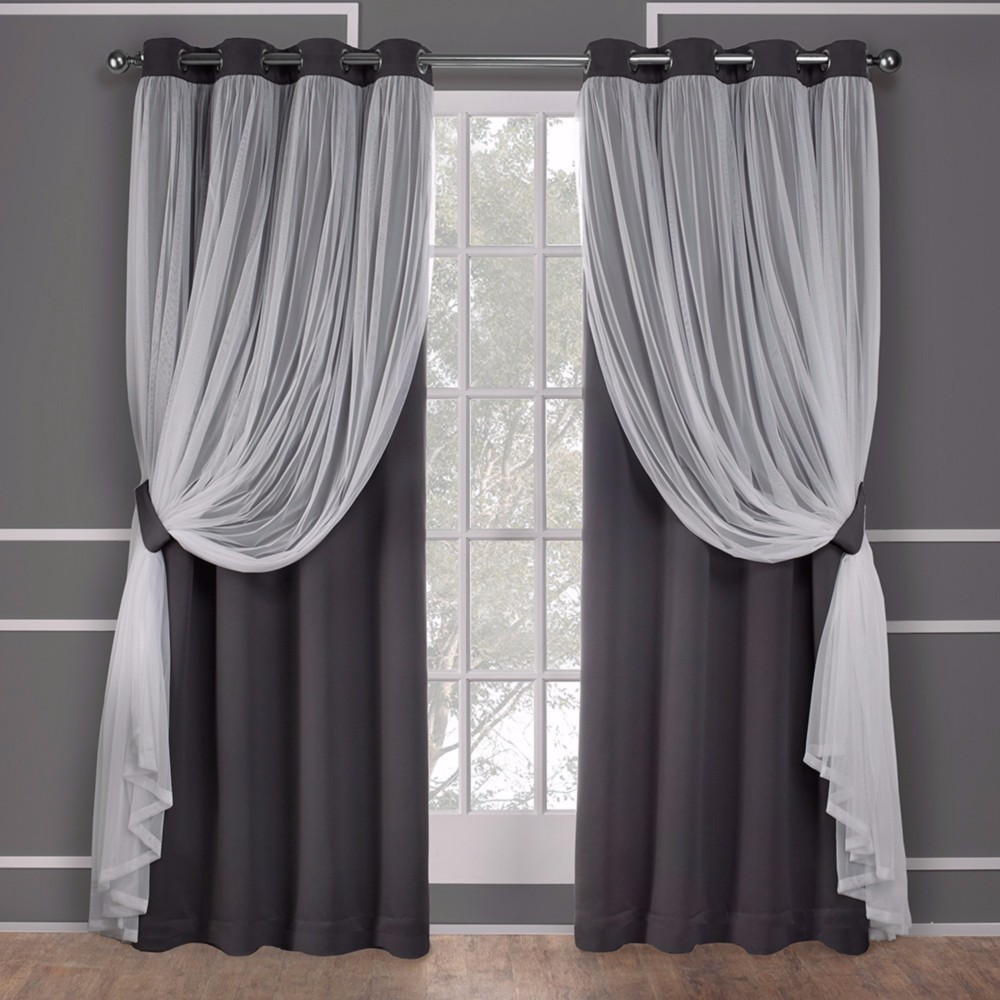 96 34 X52 34 Caterina Layered Solid Blackout With Sheer Top Curtain Panels Black Pearl Exclusive Home