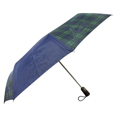 Totes Titan Plaid Automatic Open Close Windproof & Water-Resistant Foldable Compact Umbrella - Navy