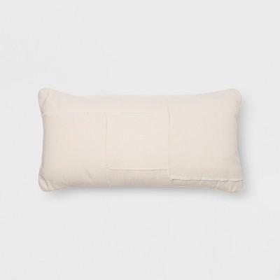 Pieced Raw Edge Oversize Lumbar Throw Pillow Cream - Project 62™