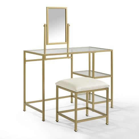 3 Piece Aimee Vanity, Mirror & Stool Set Gold - Crosley - image 1 of 4