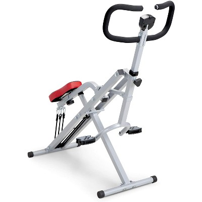 Marcy Fitness XJ-6334 Compact Foldable Portable Customizable Resistance Training Squat Rider Exercise Machine Row-N-Ride Bench for Glutes and Quads