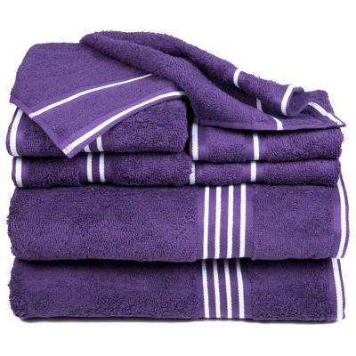 8pc Striped Bath Towel Set Purple - Yorkshire Home