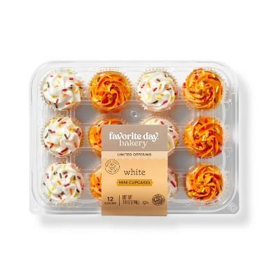 Harvest Vanilla Mini Cupcakes with Orange & White Icing -10oz/12ct - Favorite Day™