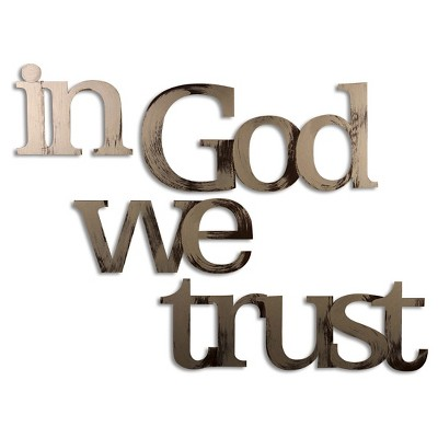 "61""x8"" Hand Painted 3D Wall Sculpture In God We Trust Nickle- Letter2Word"