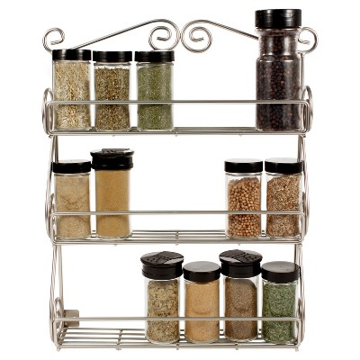 Scroll Spice Rack Wall Mount Boxed - Satin Nickel