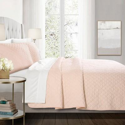 Full/Queen 3pc Ava Diamond Oversized Cotton Quilt Set Blush - Lush Décor