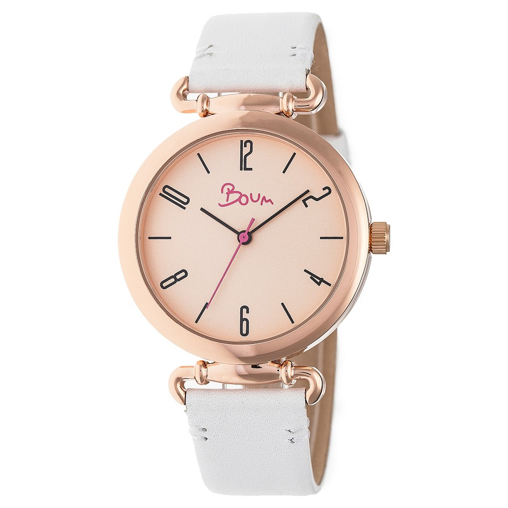 Boum Lumiere Ladies Leather-Band Watch - White/Rose Gold