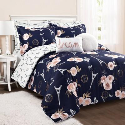 Full/Queen 7pc Vintage Paris Rose Butterfly Script Comforter Set Navy - Lush Décor