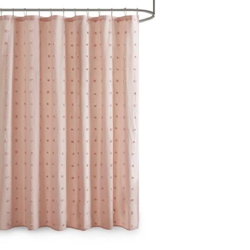 kay cotton pom pom shower curtain blush pink