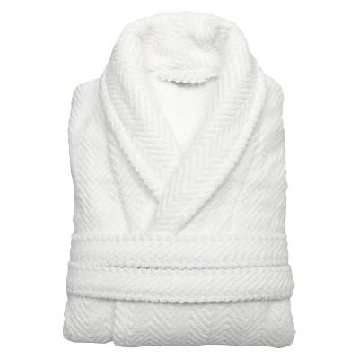Herringbone Weave Bathrobe - White (Large/Xlarge)- Unisex - Linum Home