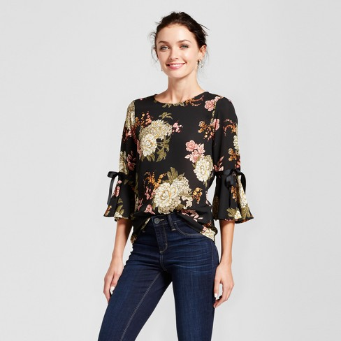 Women's Floral Printed Blouse with Bow Sleeve - LUX II Black/Olive S - image 1 of 2