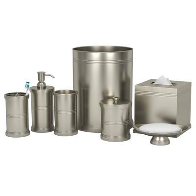 Dual Ridge Metal Bath Accessory Set for Vanity Counter Tops Nickel - Nu Steel