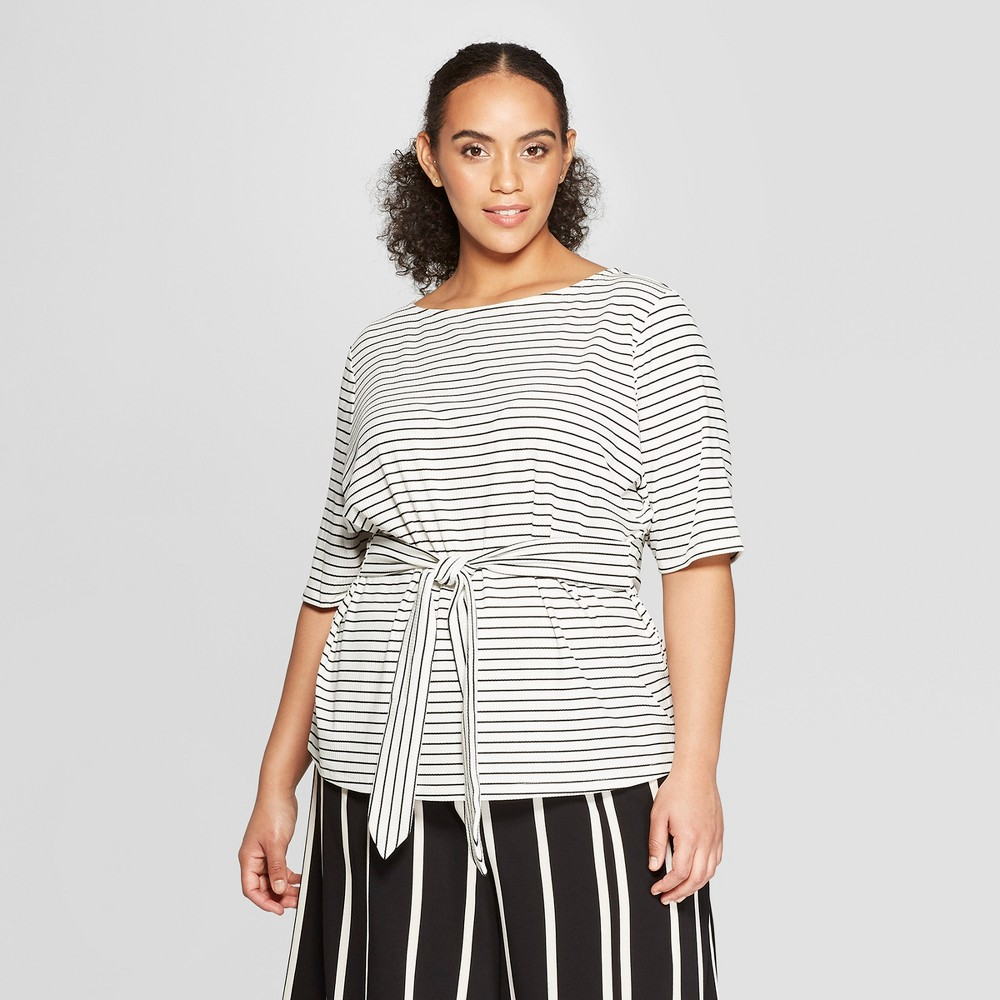 Women's Plus Size Striped Elbow Sleeve Belted Top - Who What Wear White/Black X