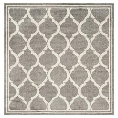 Dark Gray/Beige Geometric Loomed Square Area Rug 7'X7' - Safavieh