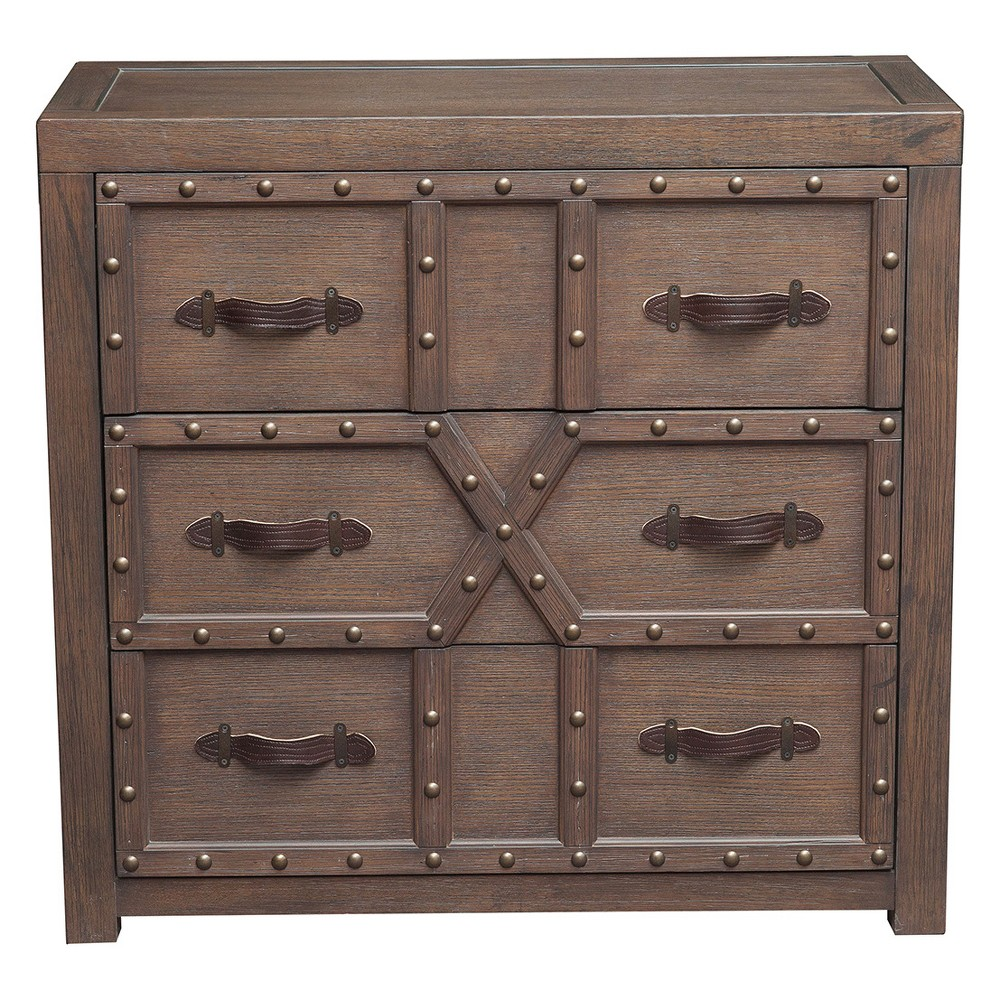 Traditional Styled Three Drawer Nail Head Accent Chest with Industrial Influence - Brown - Pulaski