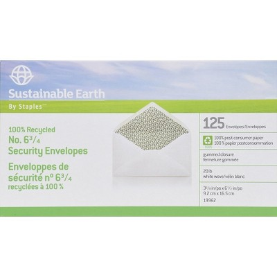 Sustainable Earth #6-3/4 100% Recycled Business Envelopes 125/BX 19962