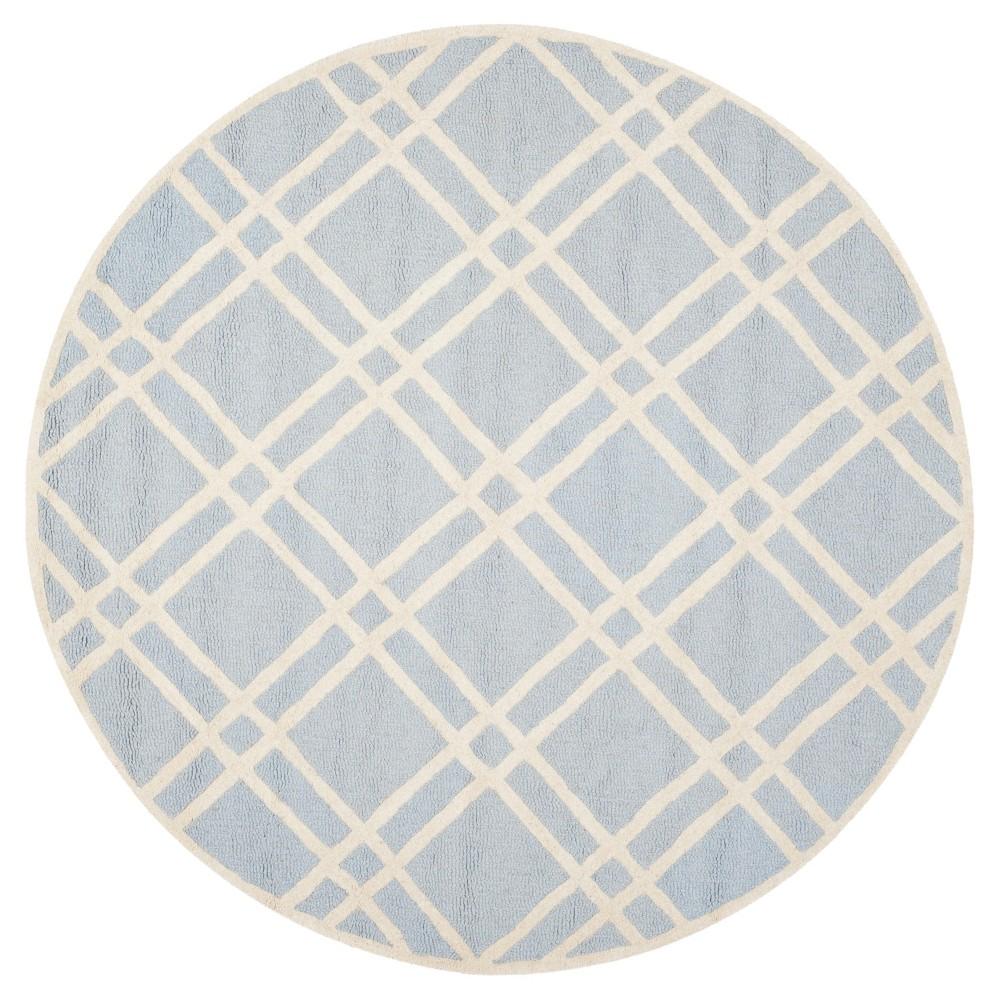 Frey Textured Wool Rug - Light Blue / Ivory (6' Round) - Safavieh, Light Blue/Ivory